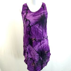 Maya Coral M/L Swim Cover Up Purple Black Tie Dye